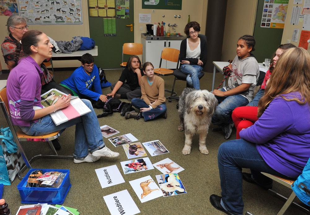 Auch nach der Eröffnung stellt aktion tier regelmäßig neues Material zur Verfügung und gibt auf Wunsch Tierschutzunterricht.