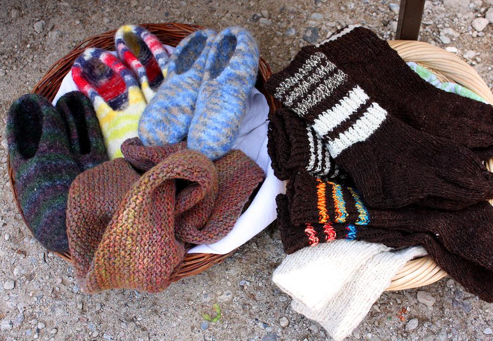 Produkte aus Schafwolle.